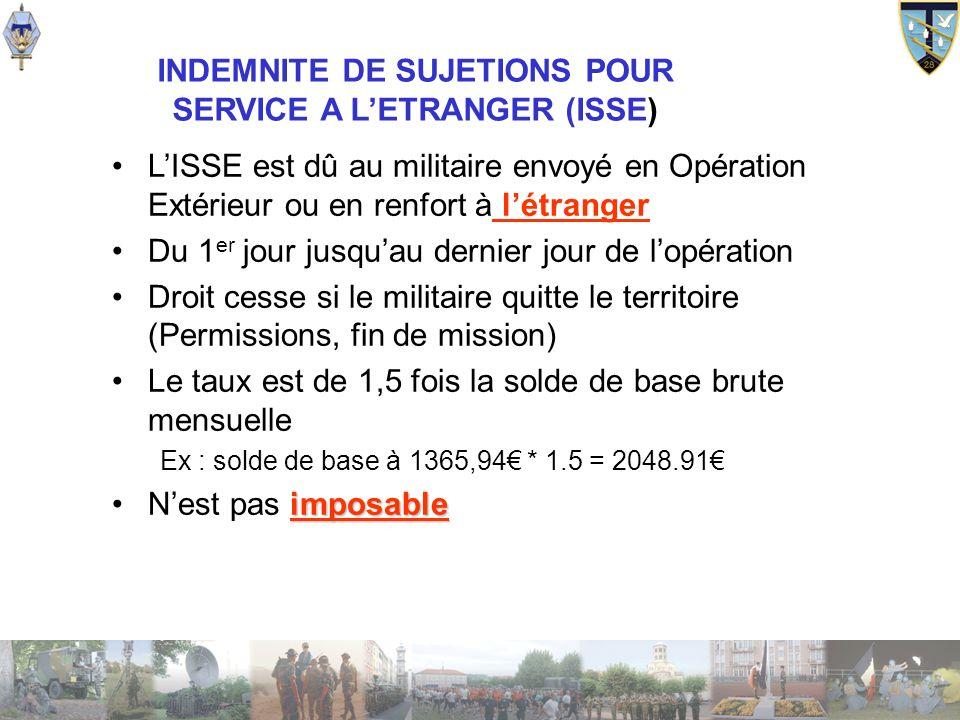 INDEMNITE DE SUJETIONS POUR SERVICE A L'ETRANGER (ISSE)