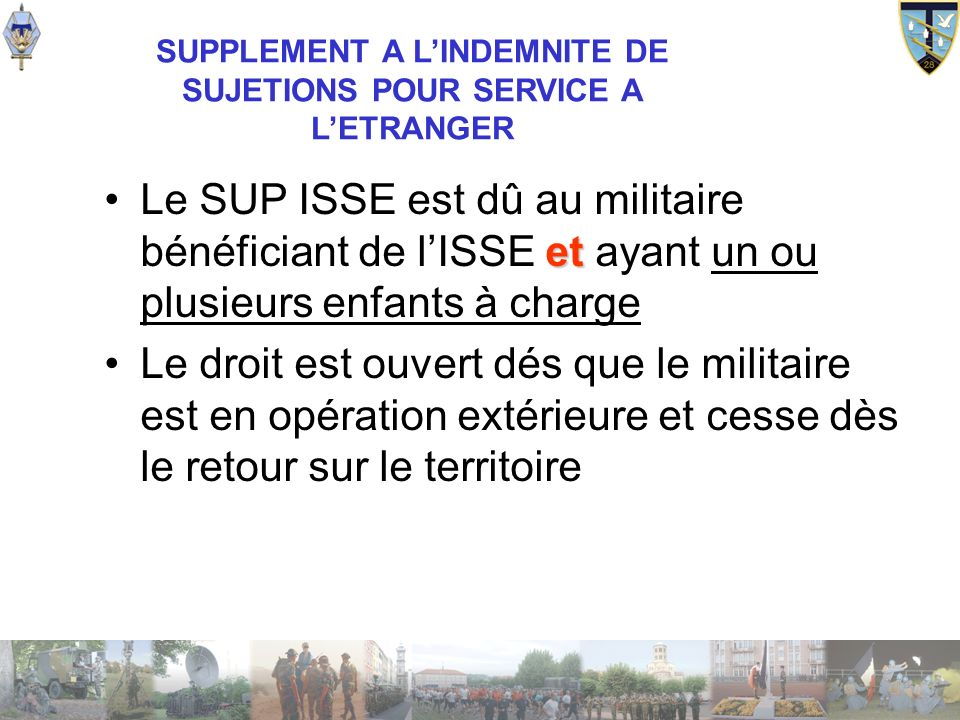 SUPPLEMENT A L'INDEMNITE DE SUJETIONS POUR SERVICE A L'ETRANGER