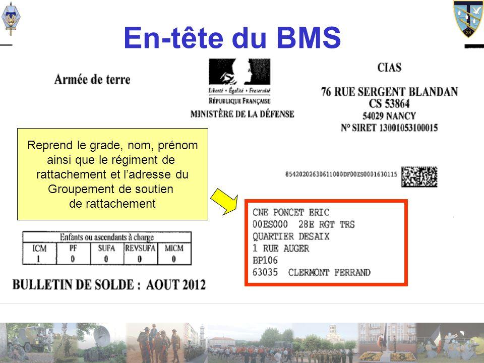 En-tête du BMS Reprend le grade, nom, prénom ainsi que le régiment de