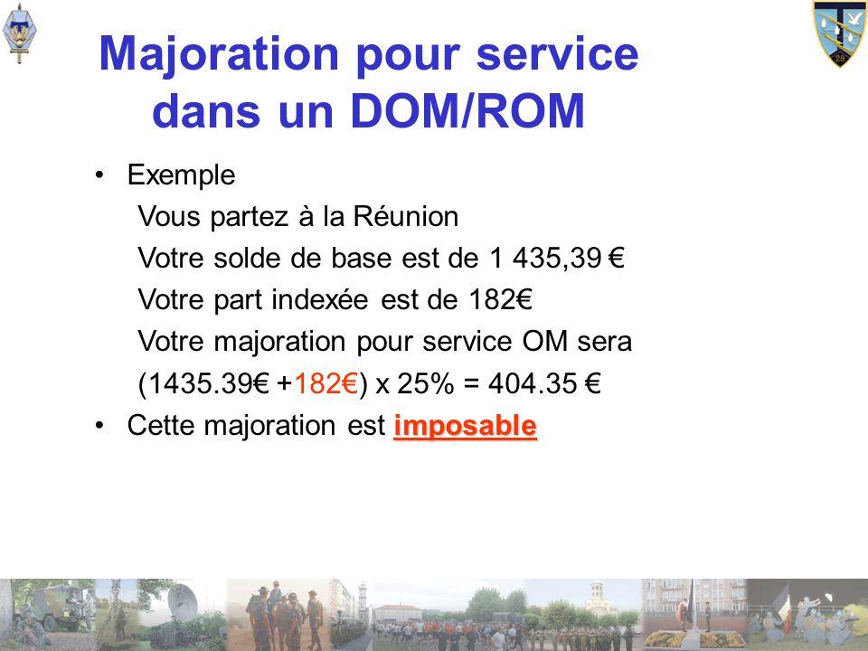 Majoration pour service dans un DOM/ROM