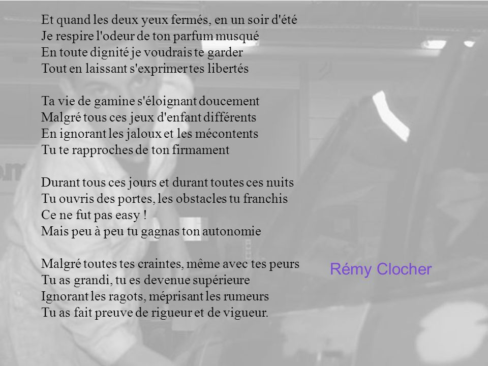 Rémy Clocher Et quand les deux yeux fermés, en un soir d été