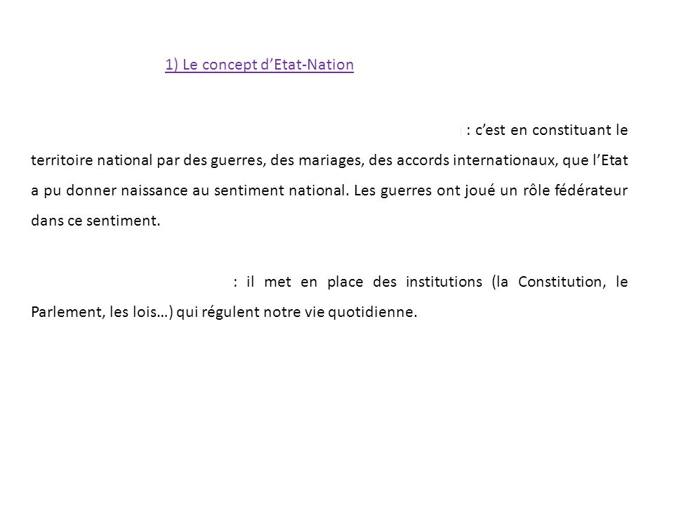 1) Le concept d'Etat-Nation