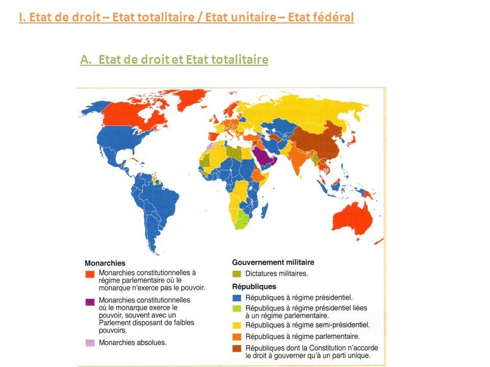 I. Etat de droit – Etat totalitaire / Etat unitaire – Etat fédéral