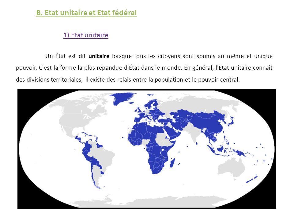 B. Etat unitaire et Etat fédéral