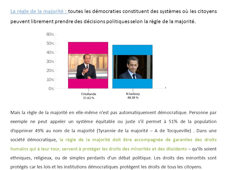 La règle de la majorité : toutes les démocraties constituent des systèmes où les citoyens peuvent librement prendre des décisions politiques selon la règle de la majorité.