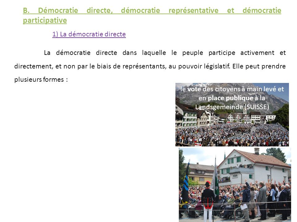 B. Démocratie directe, démocratie représentative et démocratie participative