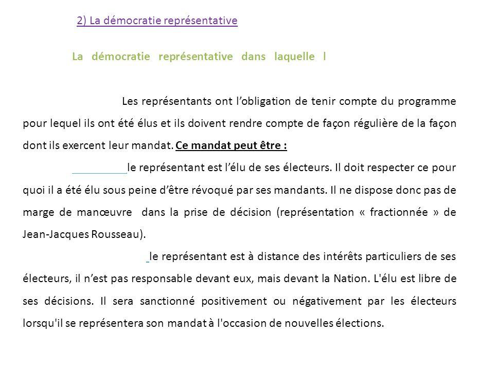 2) La démocratie représentative