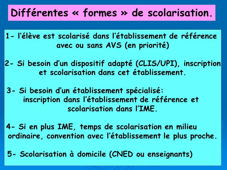 Différentes « formes » de scolarisation.