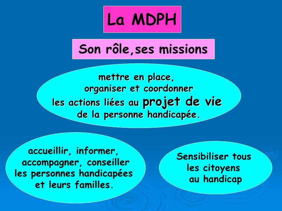La MDPH Son rôle,ses missions mettre en place, organiser et coordonner