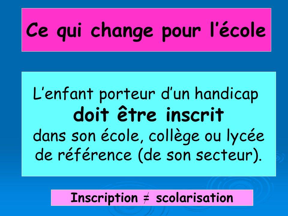 Ce qui change pour l'école Inscription = scolarisation