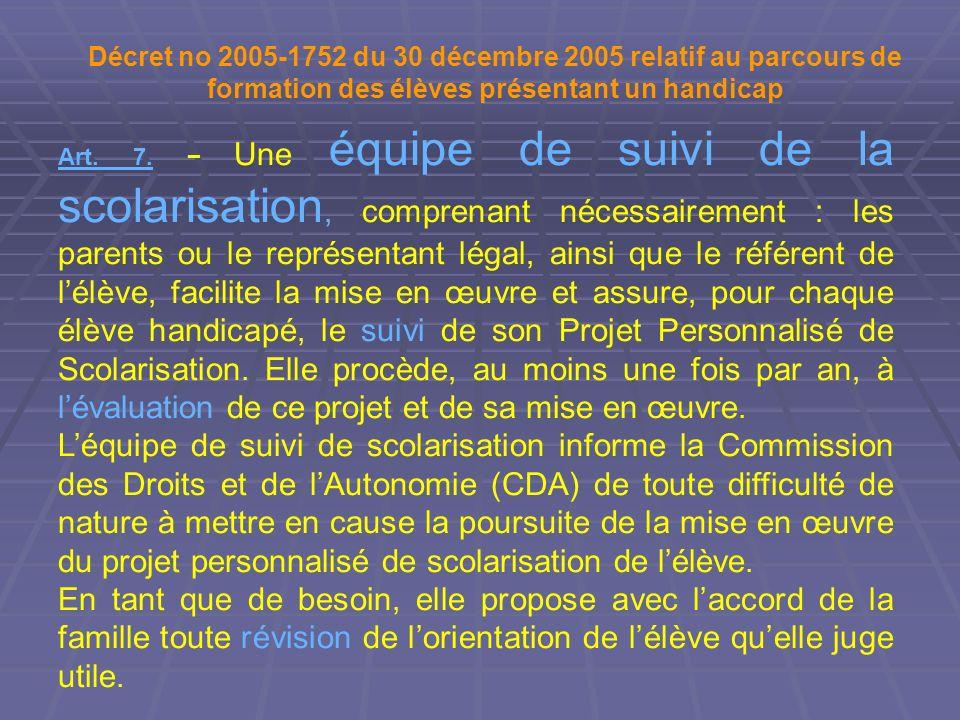 Décret no 2005-1752 du 30 décembre 2005 relatif au parcours de formation des élèves présentant un handicap