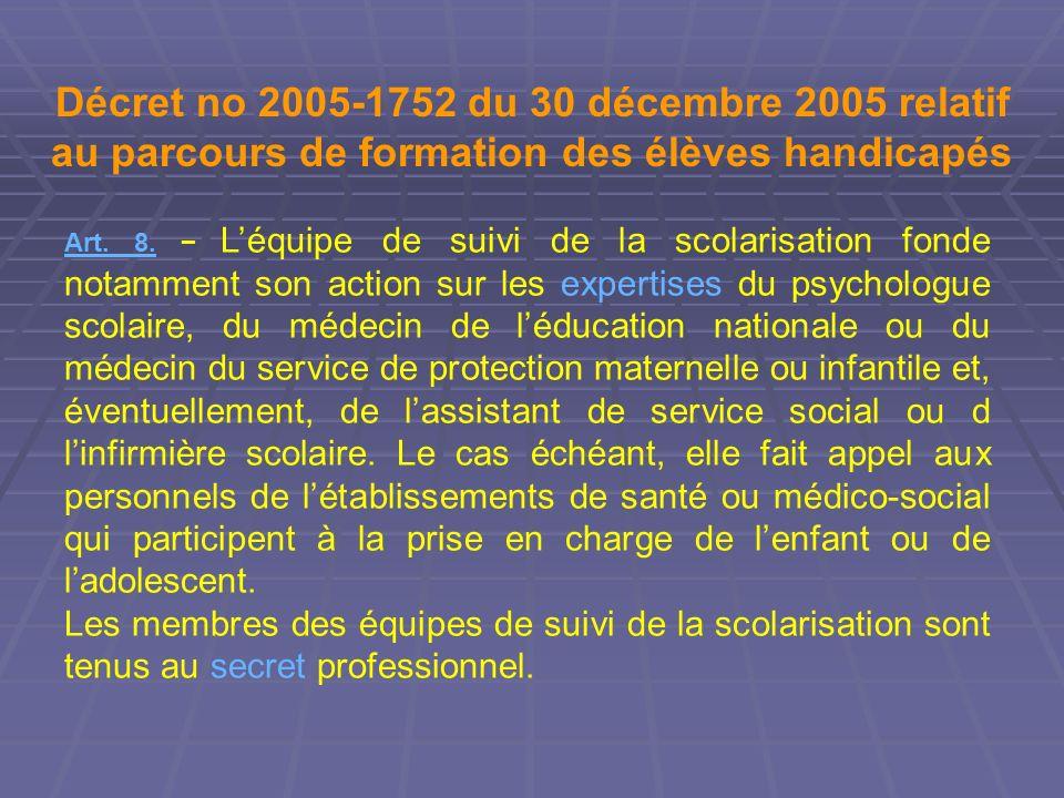 Décret no 2005-1752 du 30 décembre 2005 relatif au parcours de formation des élèves handicapés
