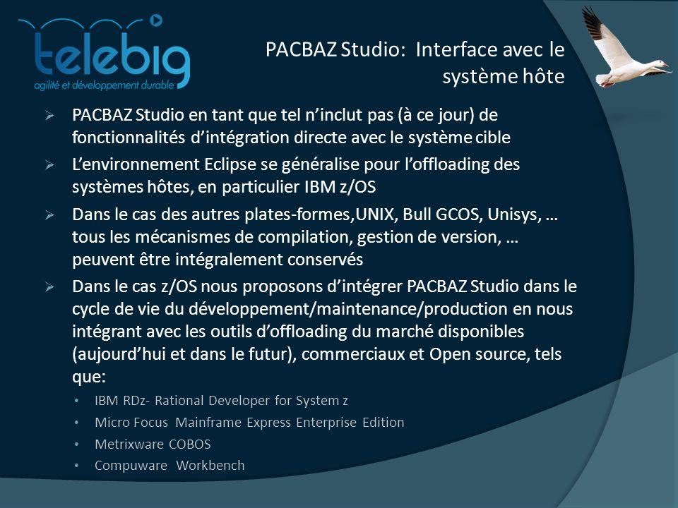 PACBAZ Studio: Interface avec le système hôte