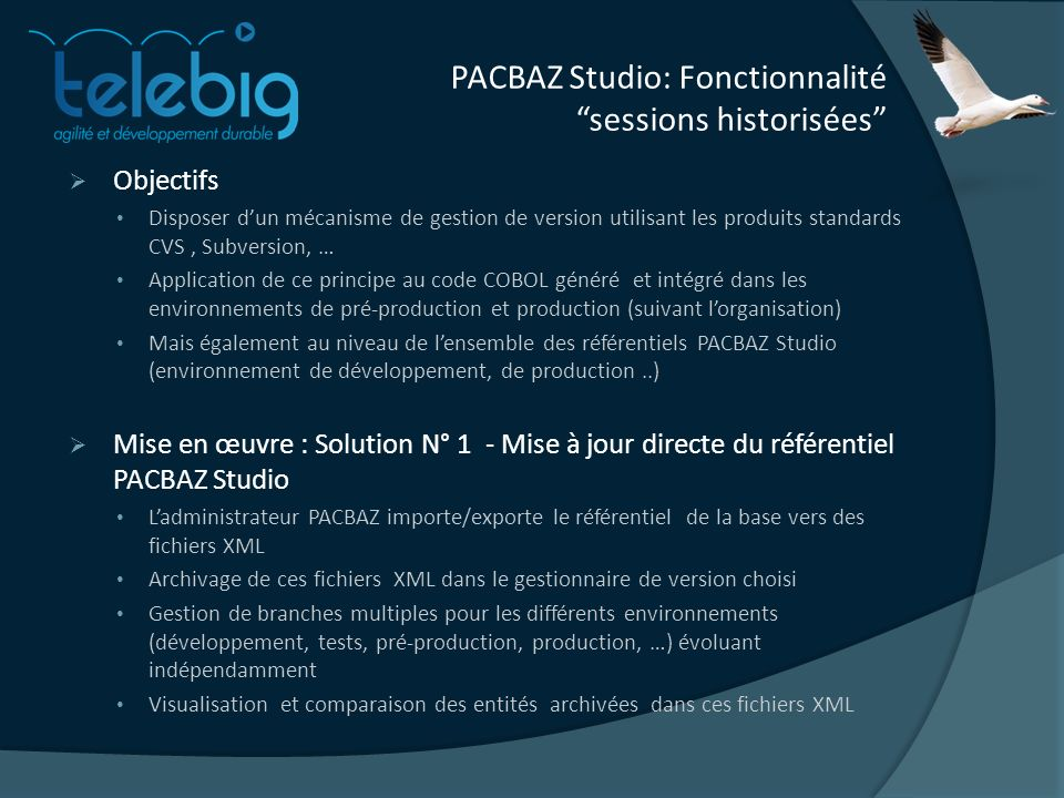 PACBAZ Studio: Fonctionnalité sessions historisées