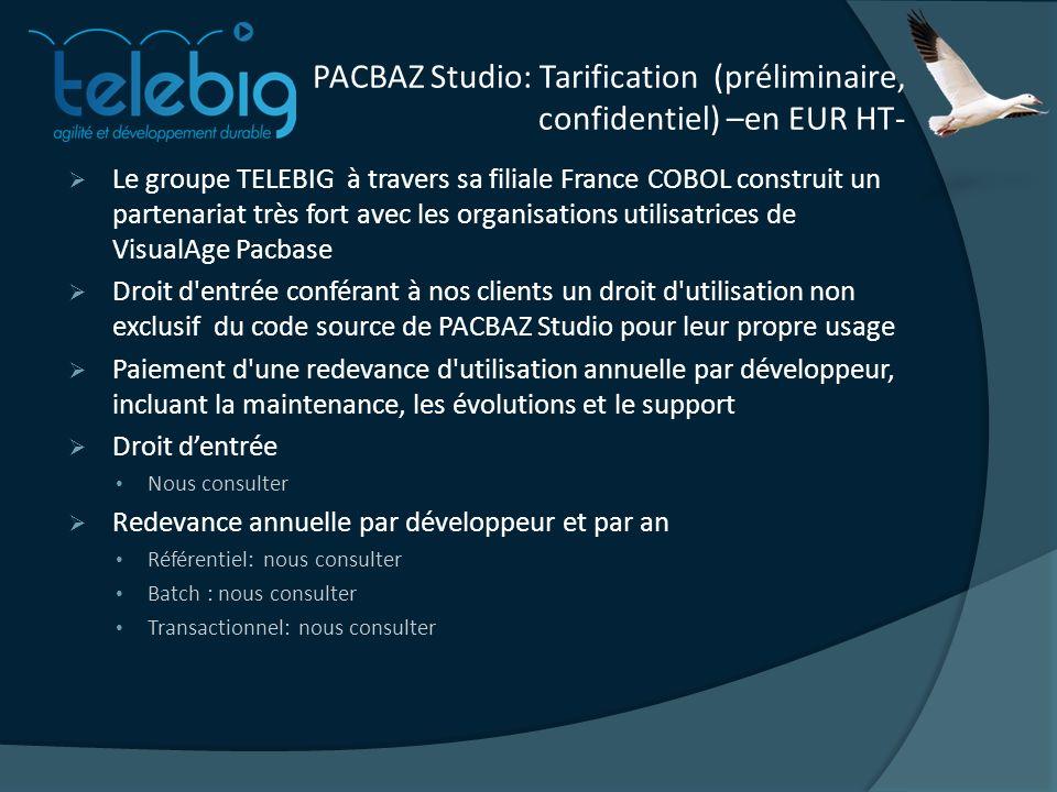 PACBAZ Studio: Tarification (préliminaire, confidentiel) –en EUR HT-