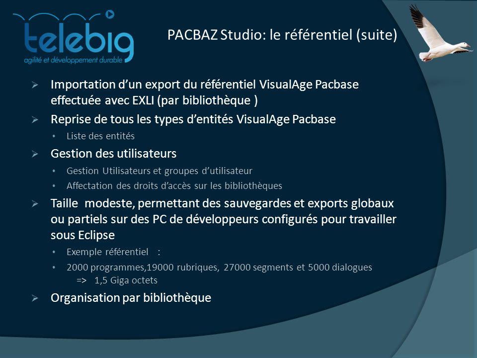 PACBAZ Studio: le référentiel (suite)