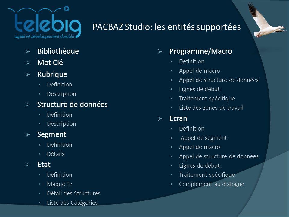 PACBAZ Studio: les entités supportées