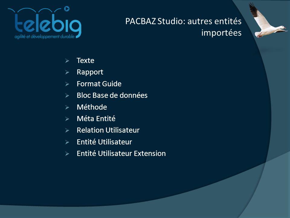 PACBAZ Studio: autres entités importées