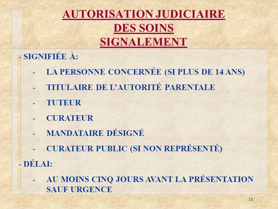 AUTORISATION JUDICIAIRE DES SOINS SIGNALEMENT