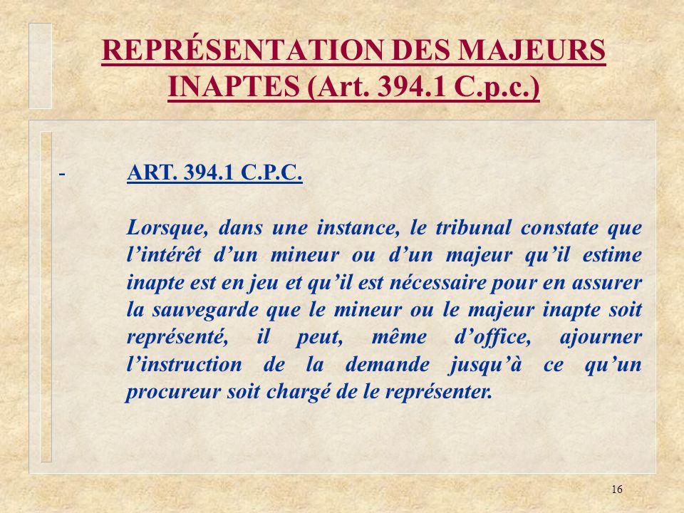 REPRÉSENTATION DES MAJEURS INAPTES (Art. 394.1 C.p.c.)
