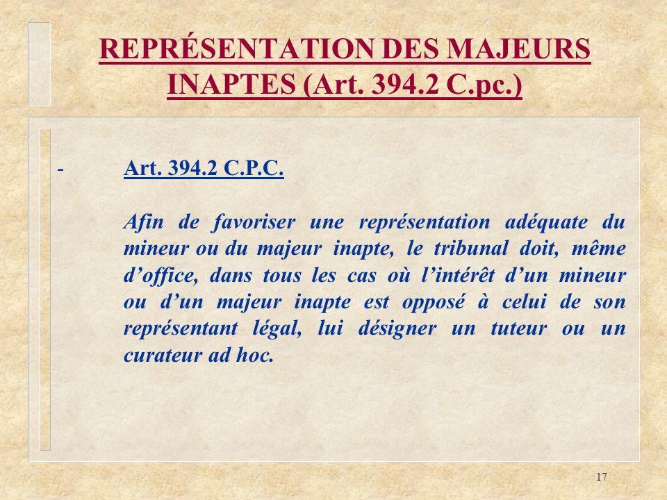 REPRÉSENTATION DES MAJEURS INAPTES (Art. 394.2 C.pc.)