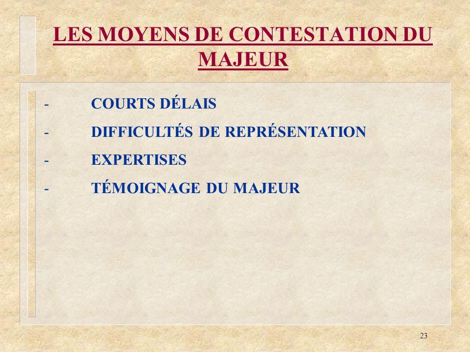 LES MOYENS DE CONTESTATION DU MAJEUR