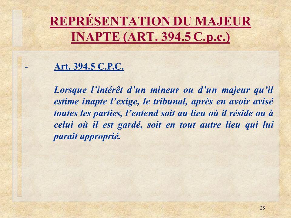 REPRÉSENTATION DU MAJEUR INAPTE (ART. 394.5 C.p.c.)