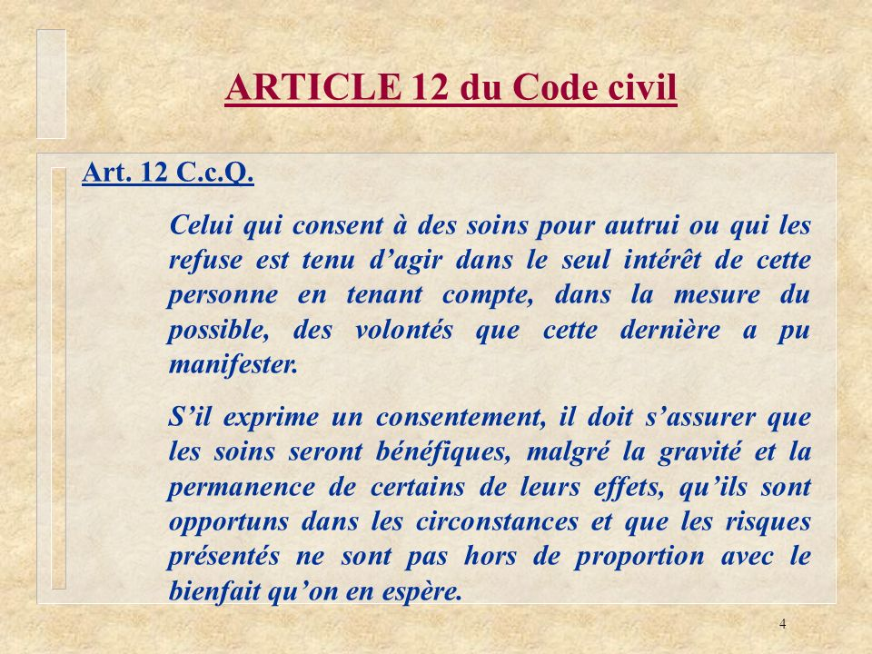 ARTICLE 12 du Code civil Art. 12 C.c.Q.