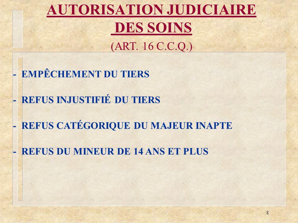 AUTORISATION JUDICIAIRE DES SOINS