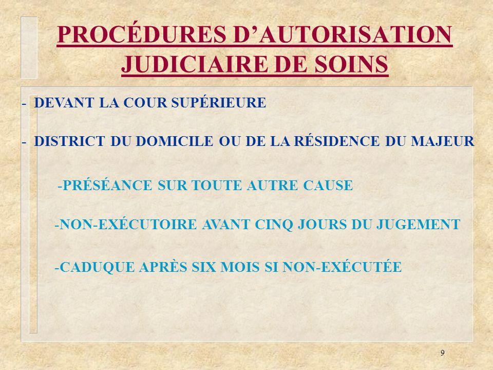 PROCÉDURES D'AUTORISATION JUDICIAIRE DE SOINS