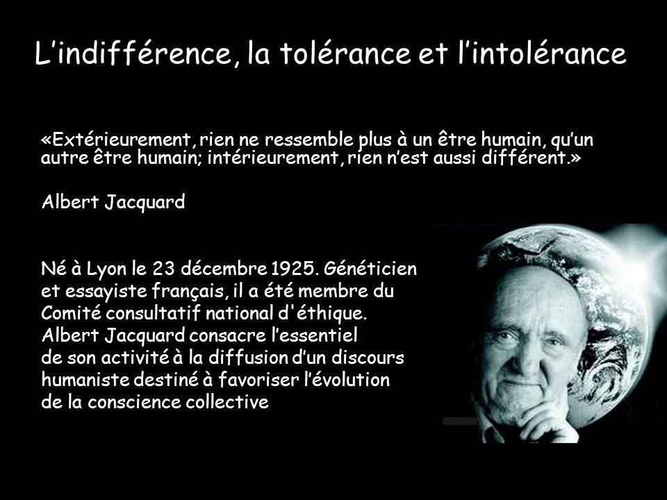 L'indifférence, la tolérance et l'intolérance