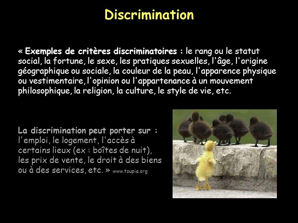 Discrimination « Exemples de critères discriminatoires : le rang ou le statut.