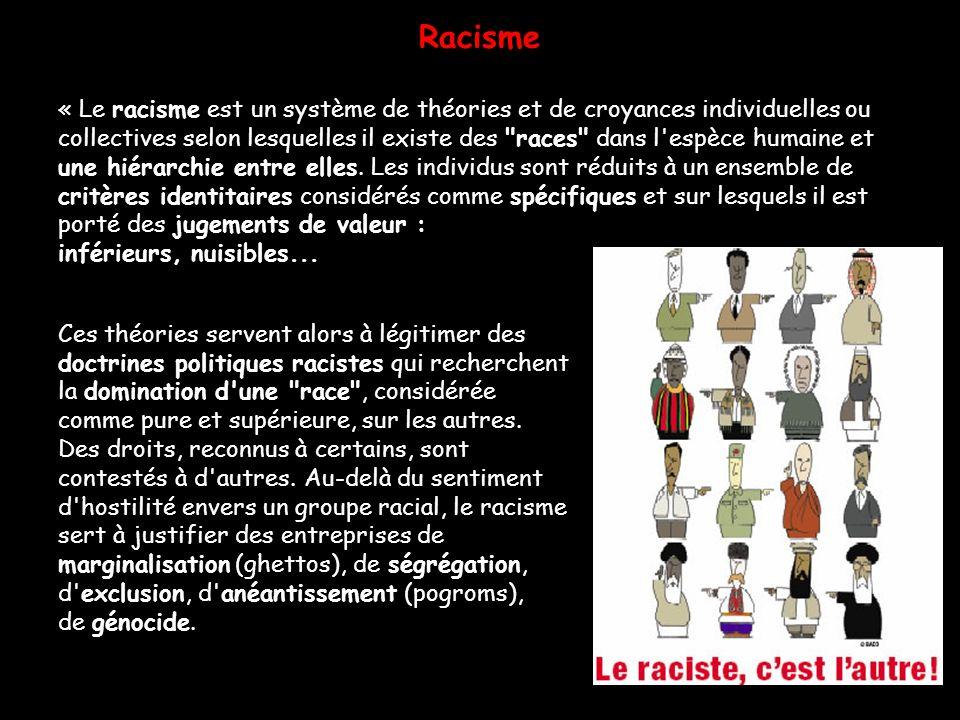 Racisme « Le racisme est un système de théories et de croyances individuelles ou.