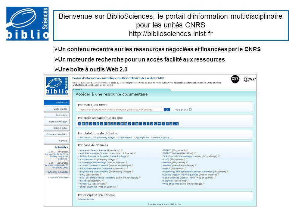 Bienvenue sur BiblioSciences, le portail d'information multidisciplinaire