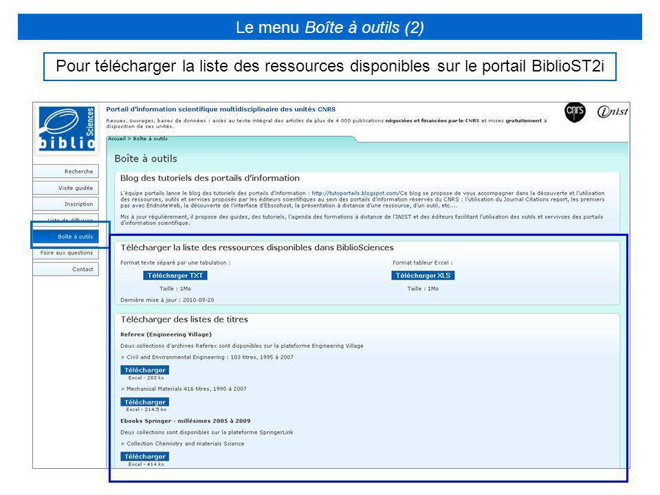 Le menu Boîte à outils (2)