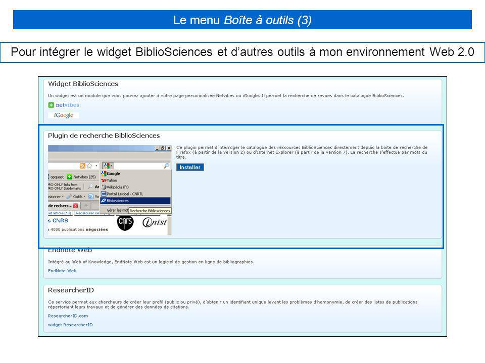 Le menu Boîte à outils (3)