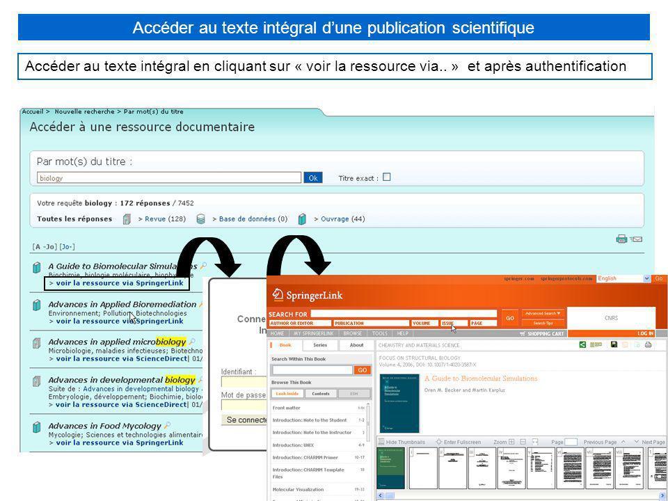 Accéder au texte intégral d'une publication scientifique