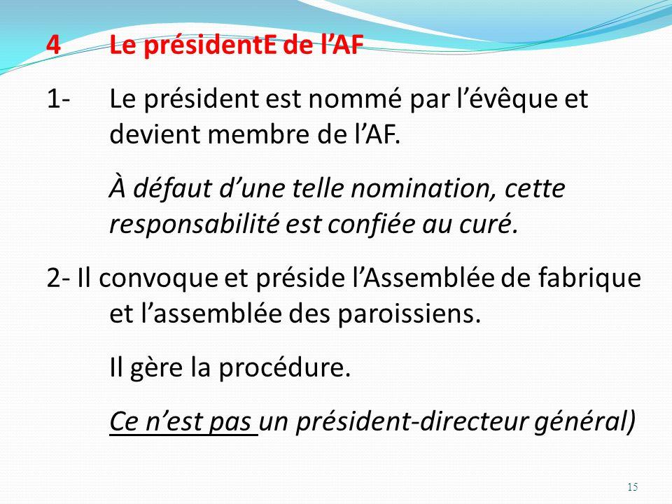 Le présidentE de l'AF 1- Le président est nommé par l'évêque et devient membre de l'AF.