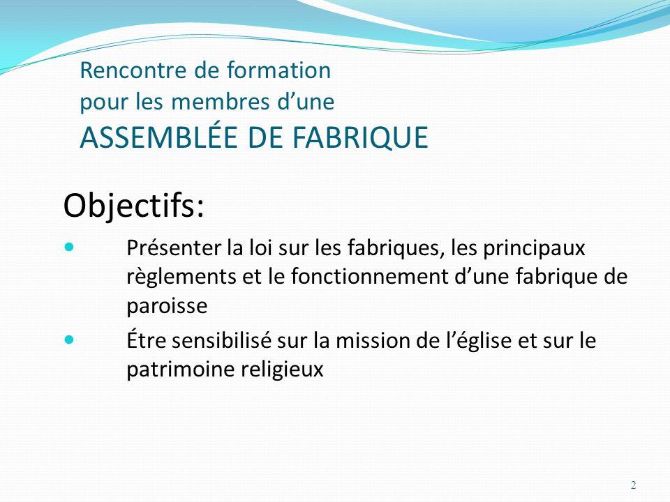 Rencontre de formation pour les membres d'une ASSEMBLÉE DE FABRIQUE