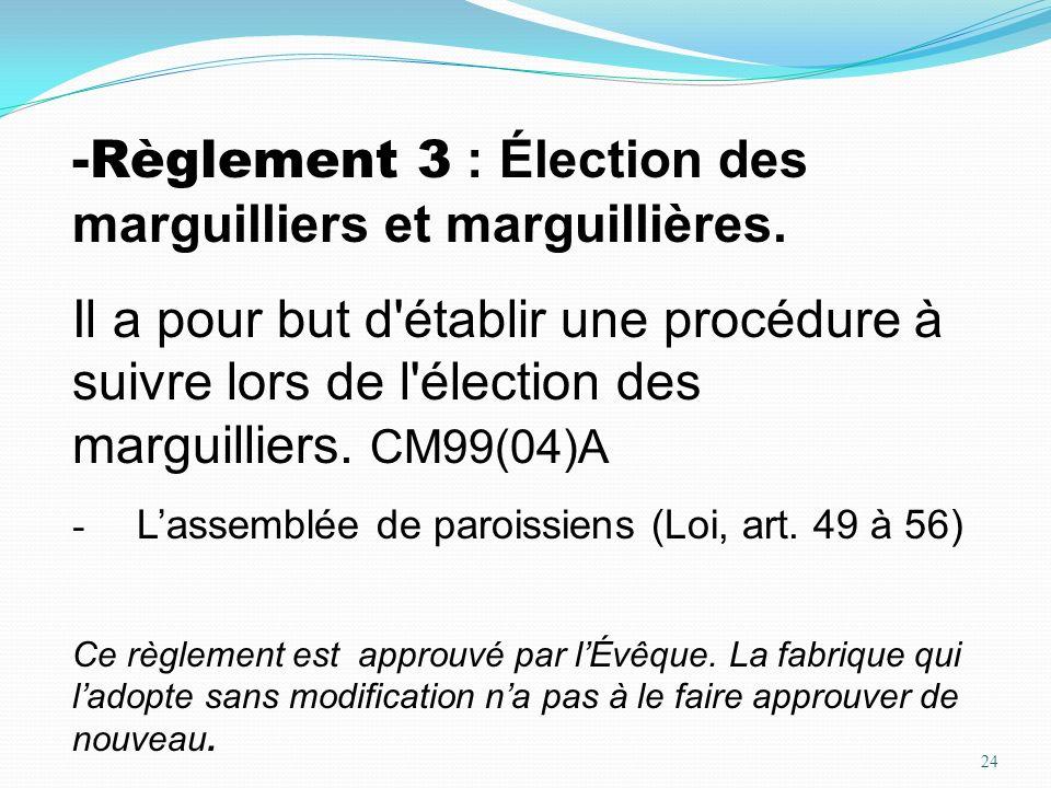 Règlement 3 : Élection des marguilliers et marguillières.