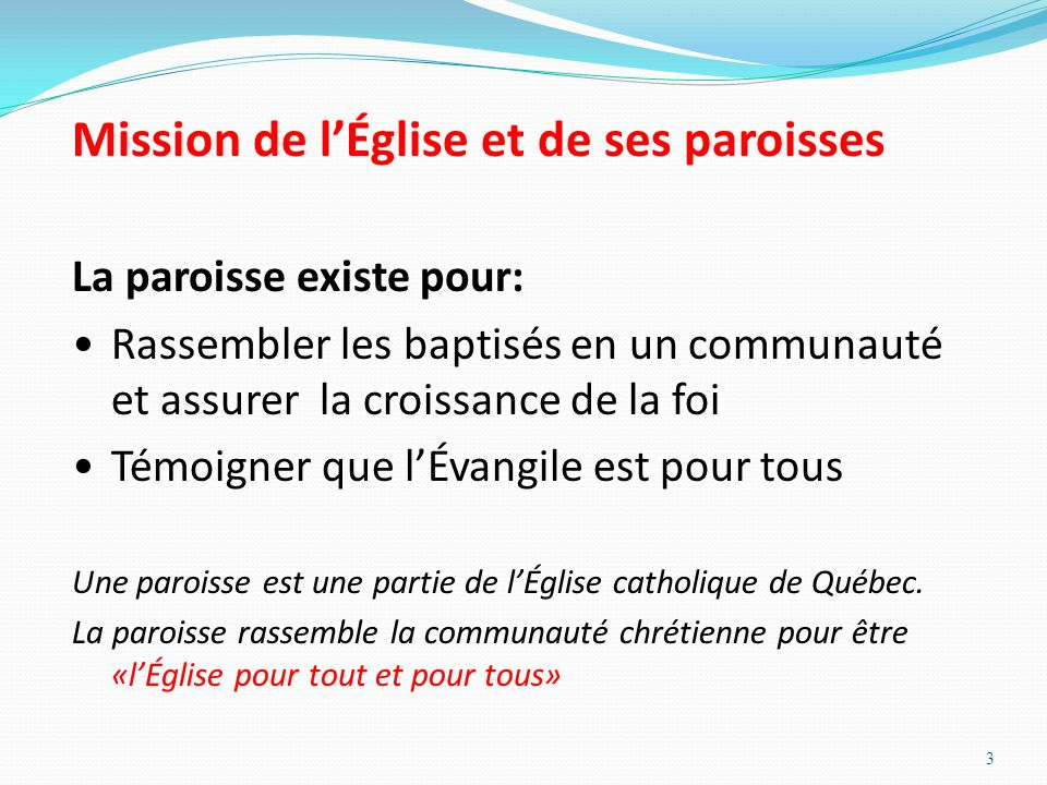 Mission de l'Église et de ses paroisses