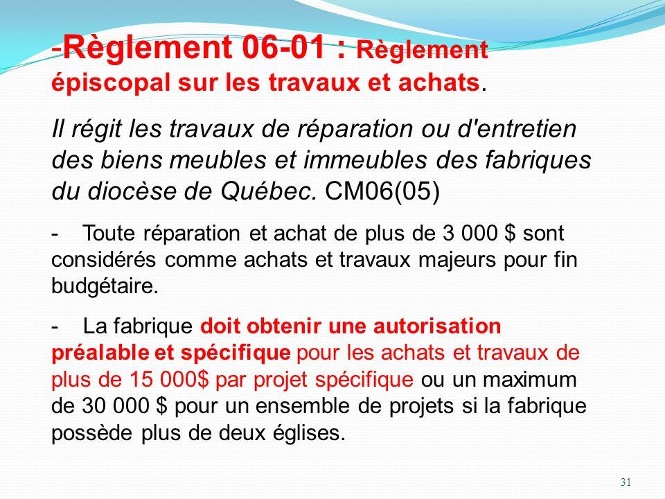 Règlement 06-01 : Règlement épiscopal sur les travaux et achats.