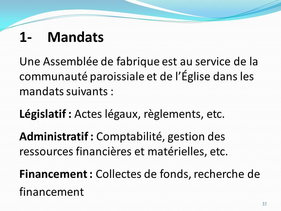1- MandatsUne Assemblée de fabrique est au service de la communauté paroissiale et de l'Église dans les mandats suivants :