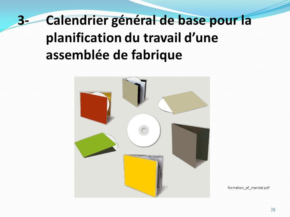 3- Calendrier général de base pour la planification du travail d'une assemblée de fabrique