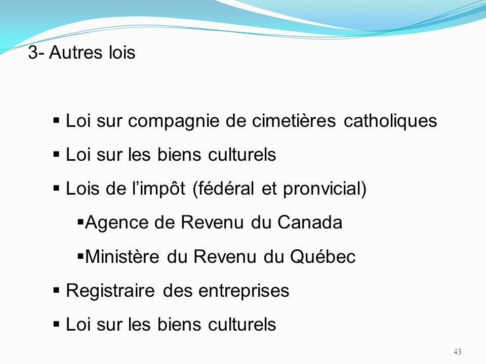 3- Autres loisLoi sur compagnie de cimetières catholiques. Loi sur les biens culturels. Lois de l'impôt (fédéral et pronvicial)