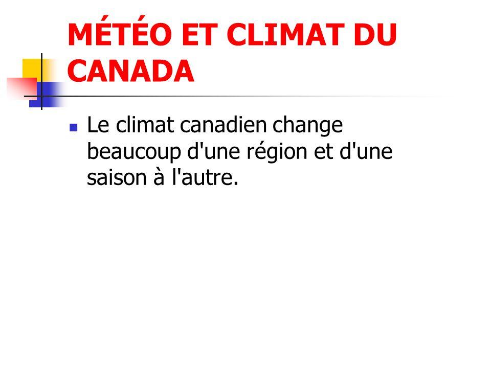 MÉTÉO ET CLIMAT DU CANADA