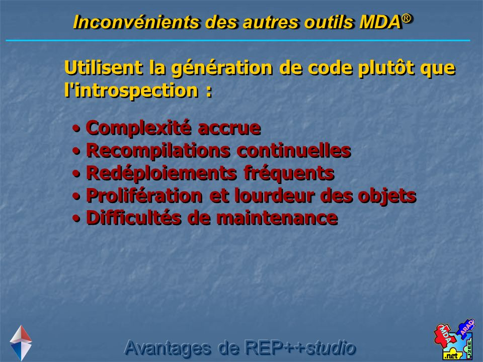 Inconvénients des autres outils MDA®