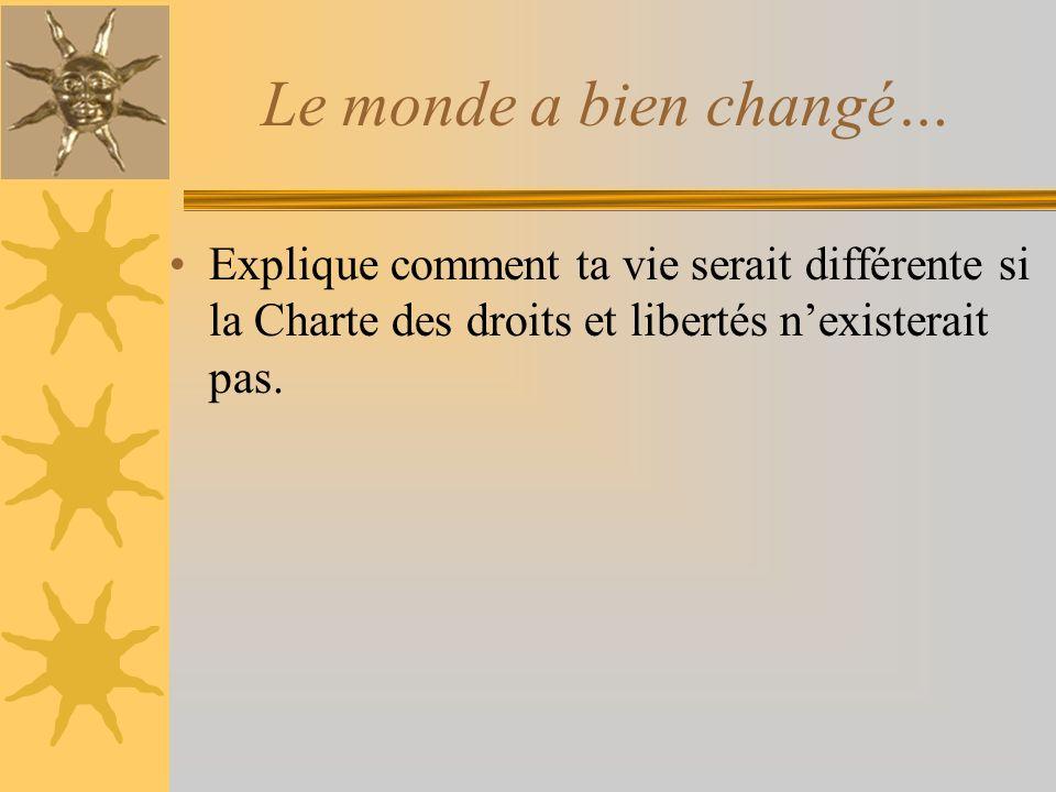 Le monde a bien changé… Explique comment ta vie serait différente si la Charte des droits et libertés n'existerait pas.