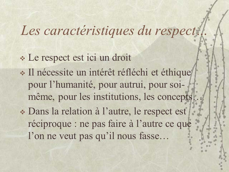 Les caractéristiques du respect…