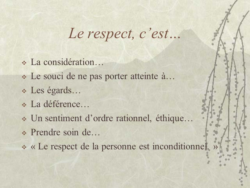 Le respect, c'est… La considération…